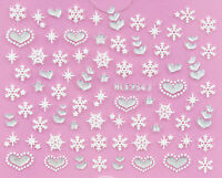 Christmas PUFFY WHITE Snowflakes Silver Hearts Xmas 3D Nail Art Sticker Decals