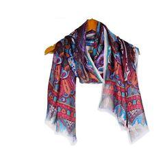 100% Silk Scarf Elegant Long Floral Shawl Wrap Designer Paisley 194 Maroon P NEW