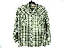 Wrangler Mens Shirt Size 3XL Green Plaid Pearl Snap Western Cowboy Long Sleeves