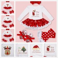 Baby Girl Dress My First Christmas Infant Tutu Sets Romper Sequined Bebe Gift us