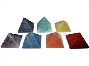 Jet Chakra Pyramid Gemstone Healing Set 25 mm Vastu Reiki Chakra Balancing A