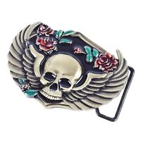 Bronze Gothic Flower Skull Western Hiphop Metal Rodeo Vintage Belt Buckle