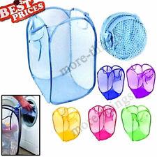 2018 Foldable Pop Up Washing Clothes Laundry Basket Bin Hamper Mesh Storage Bag