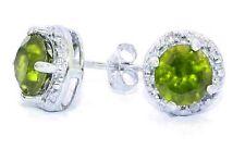2 Carat Peridot & Diamond Round Stud Earrings 14Kt White Gold