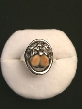 Antico anello in argento 835 tradizionale caccia foglie quercia dente Tracht A51