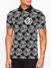 McQ Alexander McQueen Black Piqué All Over Cubic MCQ Prints Polo T-Shirt Size L