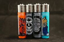 4 pcs New Refillable Clipper Full Size Lighters Scullls Design