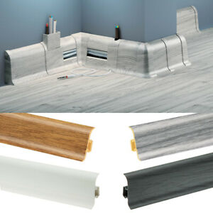 Skirting Board - Premium 2.5m PVC Plastic Skirting Board with Wire Cover Design