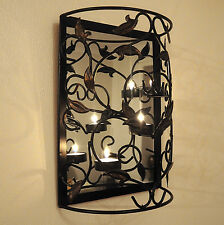 Wall Mounted Metal Candle Holder with Mirror/Sconce/Shabby Chic/TeaLight/Decor
