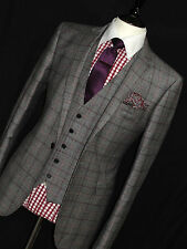 LUXURY MENS MOSS LONDON 3 PIECE GREY PRINCE OF WALES CHECK SUIT 42R W36 X L31
