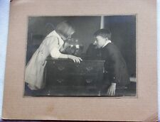 Antique Vtg Art Artistic Photo Brother Sister Children Looking in Pet Fish Bowl