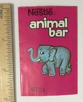 VINTAGE NESTLE'S ANIMAL BAR MILK CHOCOLATE WRAPPER BABY ELEPHANT 1970S AUST EXC!