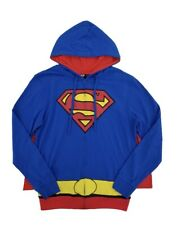 Superman Character Blue Hoodie with Detachable Cape - Mens *New L