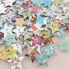 New 10/50/100pcs Merry Christmas Star Wood Buttons 25mm Sewing Craft Mix WB195