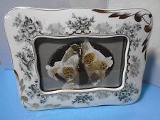 """Vintage Porcelain B&W Floral Frame, Heavy Gold Trim, Easel Back, Holds 4""""x6"""" Pix"""