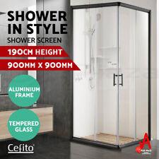Cefito Shower Screen Square Bathroom Screens Glass Sliding Door Black 900x900mm