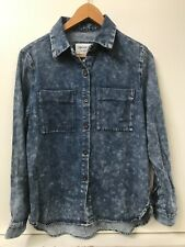 Forever 21 Woven Denim Button Down Long Sleeve Chambray Shirt Size Small NWT