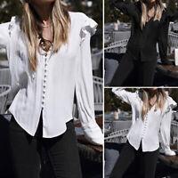 Women Plus Size Tops Tee Shirt Long Sleeve Ruffle Office Work Button Down Blouse