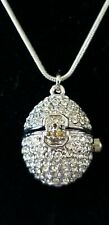 Suzanne Somers Pave Crystal Clock Egg Pendant & Chain w/ 2 extra Batteries.