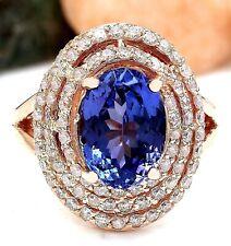 5.30 Carat Natural Tanzanite 18K Solid Rose Gold Luxury Diamond Ring