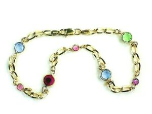Faceted Austrian crystals 10 inch anklet chain/ Authentic 1/20 -14k Gold Filled