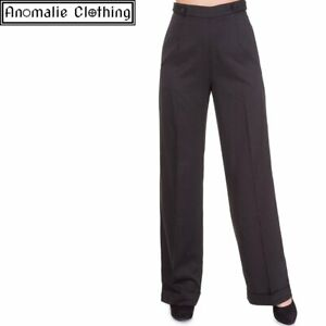 Black Banned Apparel Dancing Days Party On Wide Leg Trousers - 50s Retro Swing