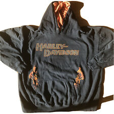 Harley Davidson Vintage Flames Front And Back Hoodie Men's 2XL Black