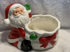 Vintage Ceramic Santa With Bag of Toys Planter