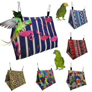 AU_ Pet Bird Parrot Hanging Cave House Owl Heart Cage Hammock Sleeping Bed Nests