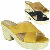 Ladies Hessian Peeptoe Slip On Sandals Womens Platform Casual Comfy Shoes Sizes