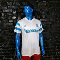 Olympique Marseille Jersey Home shirt 1990 - 1991 White Adidas Mens Size L