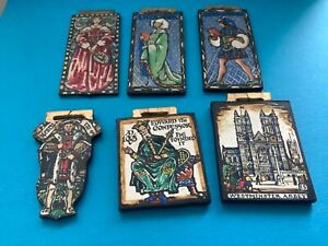 6 Dolls house handmade painted wooden panels / pictures for medieval style house