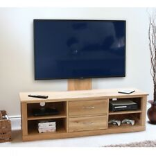 Baumhaus Mobel Oak Widescreen TV Cabinet & Mounted Adjustable Bracket  Solid Oak