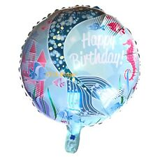 Mermaid Tail Round Foil Helium Quality Balloon 44cm Girls Party Decoration