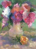 """Original Impressionism Daily Oil Painting 20""""x16"""" Floral Still Life Signed"""
