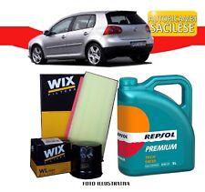 KIT TAGLIANDO VW GOLF V 1.6 FSI 85 kw '03>'08 2 FILTRI WIX 5 L. OLIO REPSOL 5W30