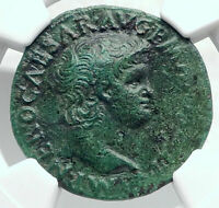 NERO Authentic Ancient 66AD Lyons Genuine Original Roman Coin VICTORY NGC i80698