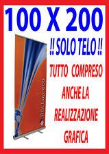 BANNER SOLO TELO PER ESPOSITORE ROLL UP 100X200 STAMPA A COLORI COMPRESO GRAFICA