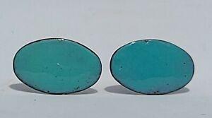 Vtg Modern Turquoise Blue Enamel & Copper CuffLinks lg size