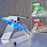Bathroom Sink Basin LED Glass Widespread Waterfall Mixer Faucet Chrome Tap