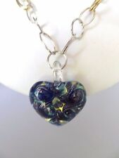 925 14K Necklace 18 Inches Italian Murano Heart Hanging On