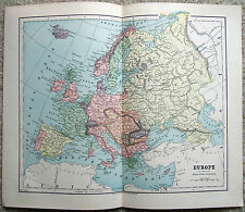Original 1882 Map of Europe by Phillips & Hunt