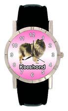 Keeshond Puppy Dog Mens Ladies Genuine Leather Band Quartz Wrist Watch SA1100