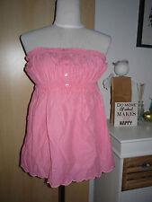 KOOLA ANNA romantisches  Bandeau Shirt rosa Gr. XL mit Lochstickerei
