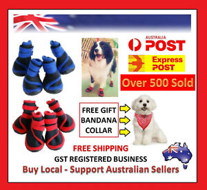 4 x Pet Dog Shoes Puppy Cat Shoes Boots Waterproof Anti-Slip Paw Protector Bowl