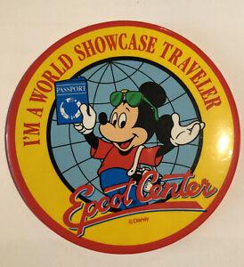 "Walt Disney Epcot Center ""I'm A World Showcase Traveller"" Vintage Badge"