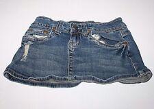Hydraulic Stretch Dark Wash 5 Pocket Frayed Jeans Skirt Women Size 1/2