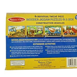Melissa & Doug Wooden Puzzles Construction Vehicles 4 with 12 piece each