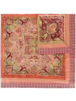 Etro Silk Paisley Multi Color 100% Silk Orange and Yellow Shawl Scarf $810