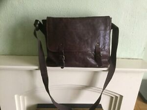 Large Marks and Spencer's conker brown leather briefcase work school laptop bag